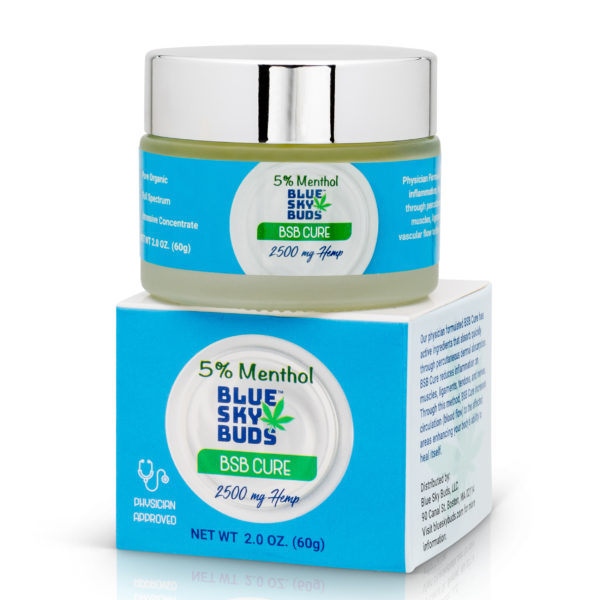 BSB Cure 5% MENTHOL with 2500 mg CBD Hemp Extract Pain Balm Topical (2 oz)